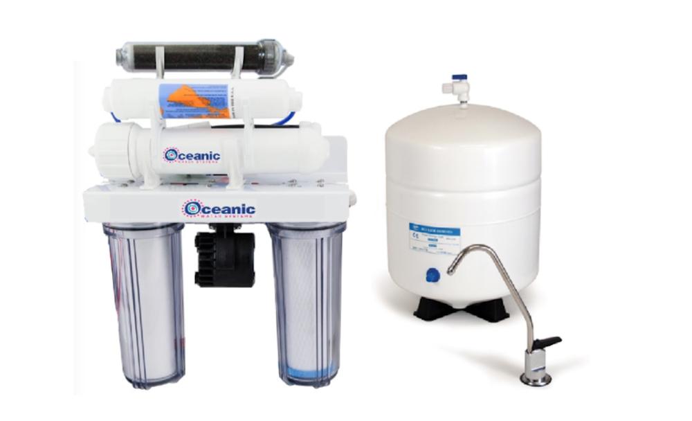 Oceanic Reverse Osmosis Dual Drinking Aquarium 75GPD Filter System Permeate Pump