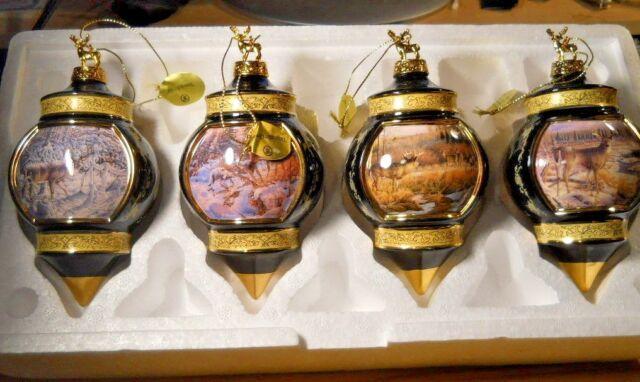 Set 4 Bradford Exchange WOODLAND TRANQUILITY DEER ORNAMENT COLLECTION Black Gold