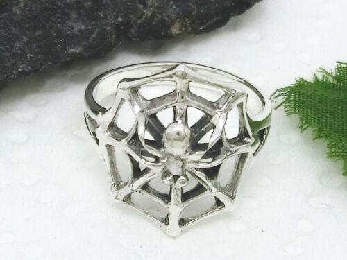 Größen Spinne mit Netz 925 Silber Ring spider ring versch