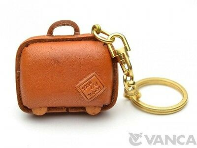 Suitcase Handmade Leather L Keychain Keyring Vanca Made In An