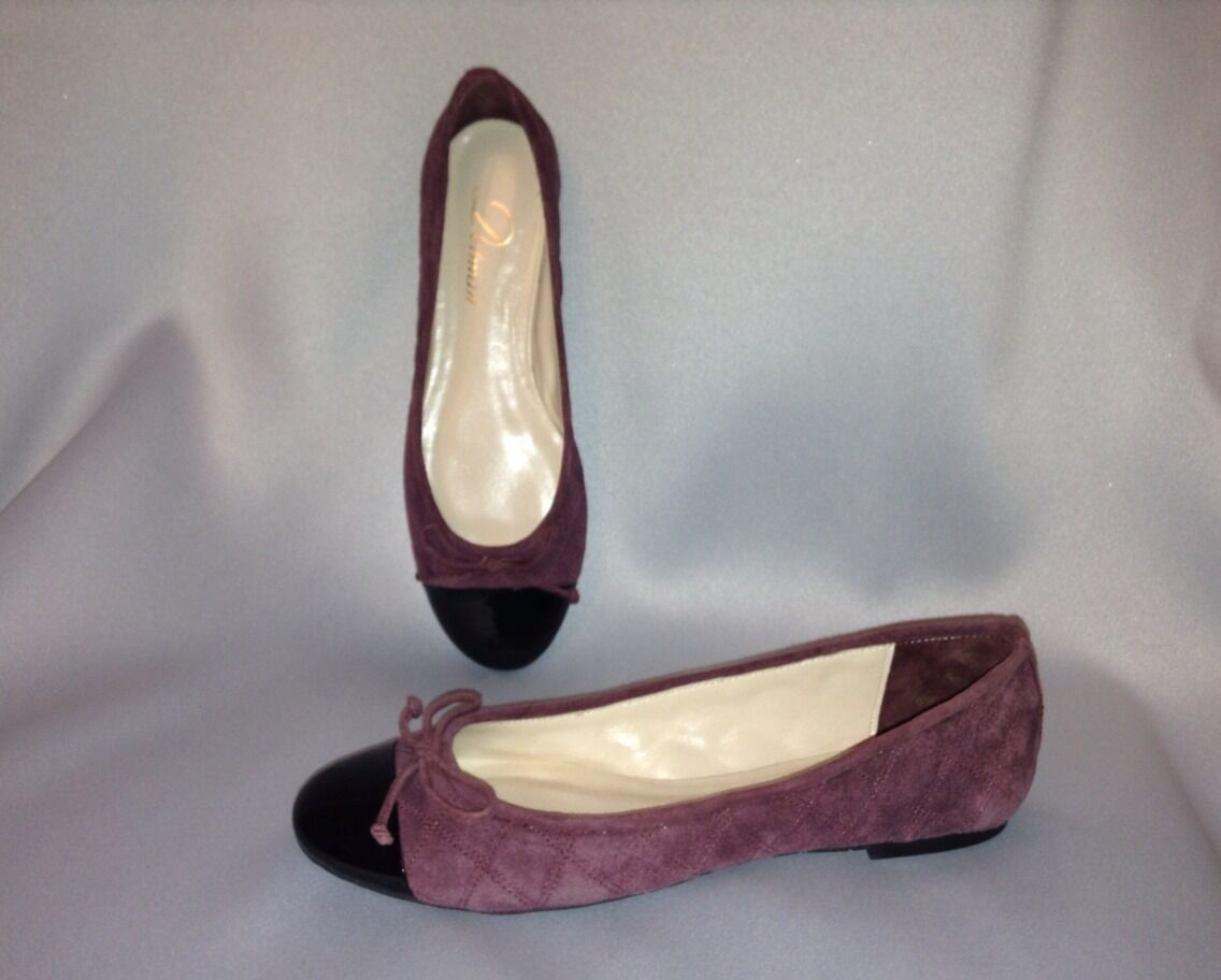 DELMAN DELMAN DELMAN Willa Diamond Quilted Burgundy Suede Ballet Flats Patent Cap Toe New Sz.7 0685eb