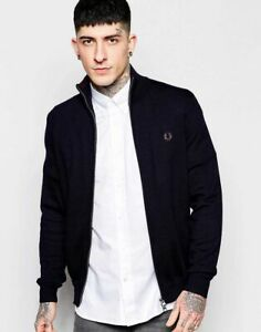 Fred-Perry-Track-Fleece-Jacket-with-Zip-Navy-Blue-Small-Medium-Large-amp-XL