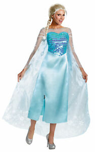 Elsa Adult Womens Costume Frozen Disney Princess Dress Gown Halloween