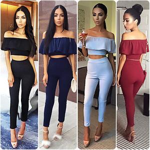 023093f430 Jumpsuit Romper Women Off Shoulder Two Piece Crop Top Long Pants Party  Clubwear