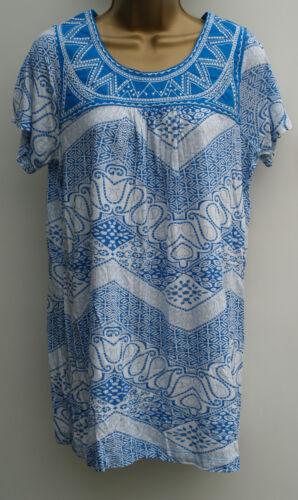 Ladies Ex Store Plus size  White Blue Summer Tunic Top T-Shirt Size 12-22