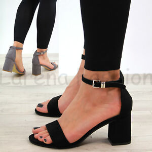 d5ffb550406 New Womens Mid Block Heel Sandals Peep Toe Ankle Strap Comfy Shoes ...