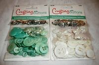 Crafting With Buttons Lot Of 2 Packs Embellishments White And Turquoise