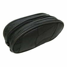 Sunglasses Pouch Genuine Leather Toiletry Makeup Cosmetic Bag Zipped Small Black