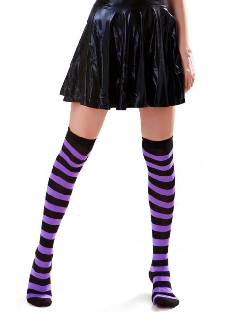 62a53c9d9 Women's Extra Long Striped Socks Over Knee High Opaque Stockings ...
