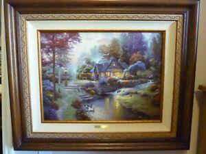 thomas kinkade stillwater cottage s n le peaceful cottages canvas rh ebay com
