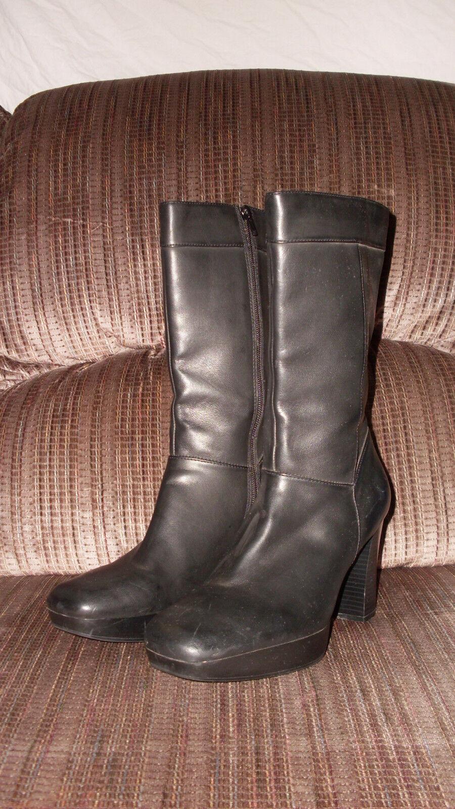 Apostrophe Black Mid Calf Boots Zipppered  Womens  JENNA sz 9M