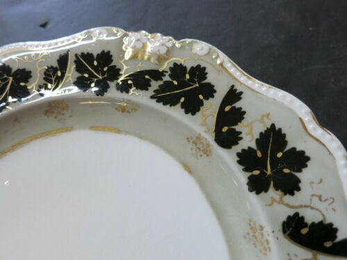 Antique Bloor Derby grape leaves Porcelain 9/'/' Plate rare circa 1826 China