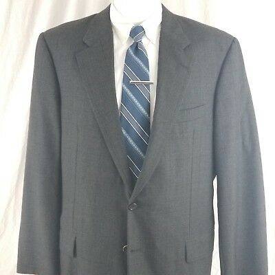 Hickey Freeman Men's 44 L 2 Button Gray Glen Plaid Windowpane Wool Sport Coat Suits & Suit Separates