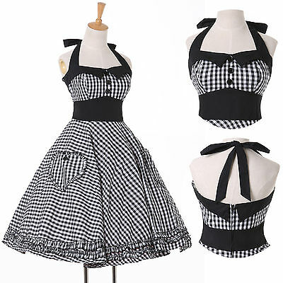 Ladies 50s Vintage Pinup Swing Cocktail Ballgown Party Evening Dress