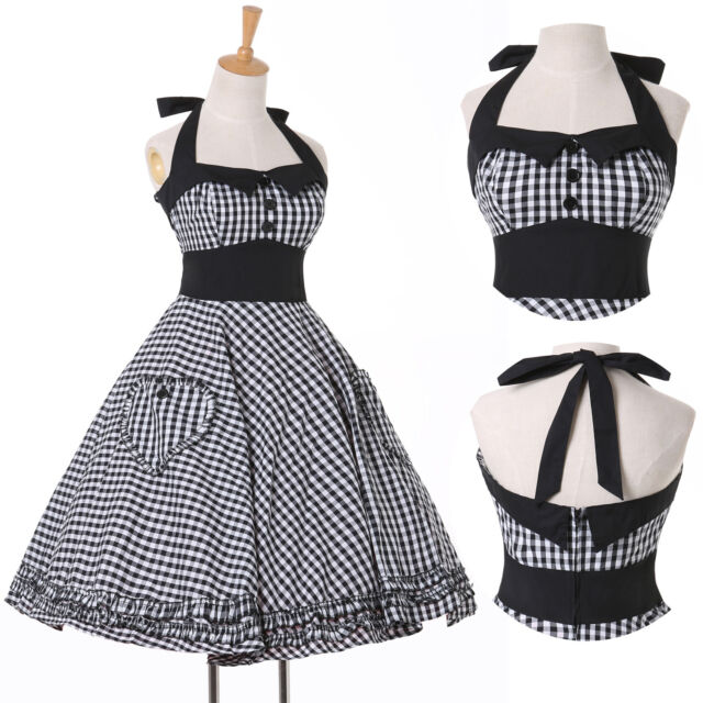VINTAGE HALTER SWING 50S 60S PINUP POLKA DOTS DRESS PROM HOUSEWIFE