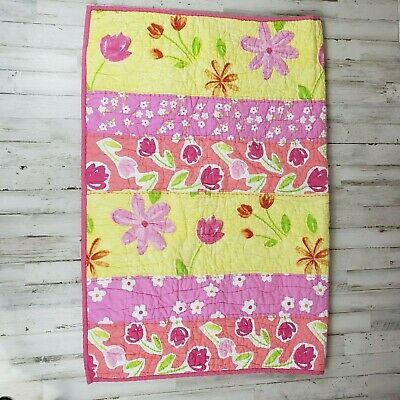 Pottery Barn Kids Baby Girls Quilt Pink Yellow Crib Floral 50 X 36 Vi9