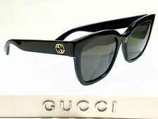 Authentic GUCCI GG0034S 001 Black/Grey Lens 54mm Square Women's Sunglasses