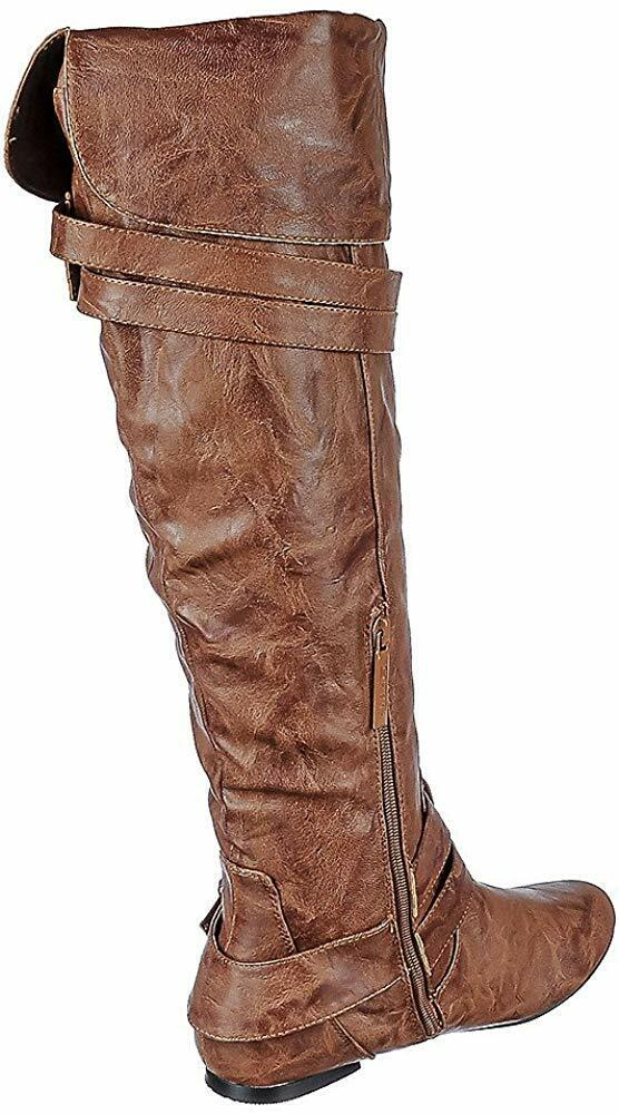 Nature Breeze FF72 Women Faux Suede Thigh High Drawstring Riding Boot