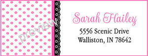 PINK POLKA DOTS AND BLACK LACE TRIM  #121 LASER RETURN ADDRESS LABELS