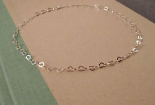 "925 Sterling Silver 9"" 2mm Heart Link Bracelet~ New"