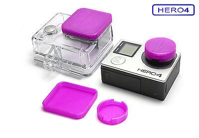 Linsen Schutz f. GoPro HERO 4 Zubehör Lens Cap Protector Abdeckung Kappe Purple
