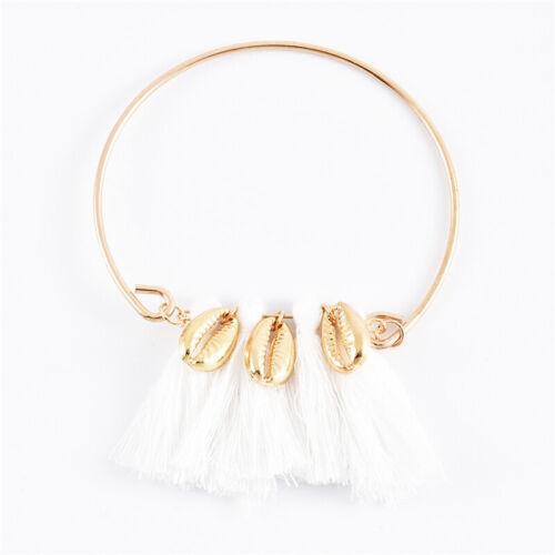 6Pcs//Set Women Shell Turquoise Tassel Crescent Moon Charm Chain Bracelet Jewelry