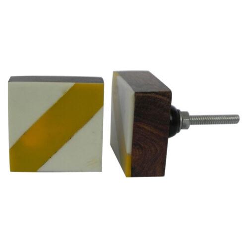 Géométrique Carré porte d/'armoire knobjaune à rayures crème en bois Armoire Poignée