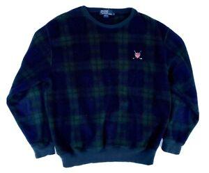 Polo-Ralph-Lauren-Golf-Logo-Plaid-Pullover-Vintage-USA-Sweater-Mens-Size-L-Large