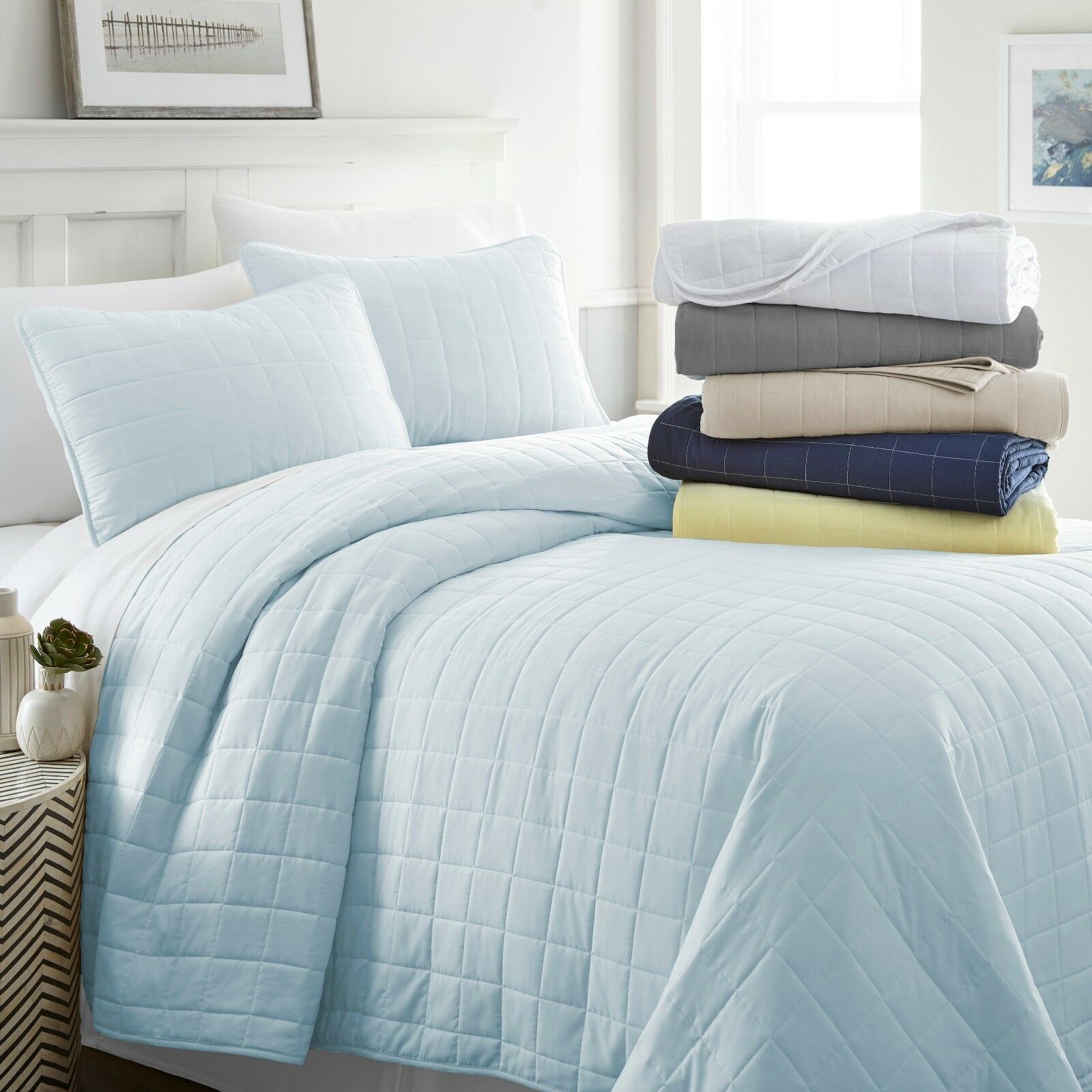 Linen Market Ultra Soft Hypoallergenic Quilted 3 Piece Coverlet Set - 3 Designs