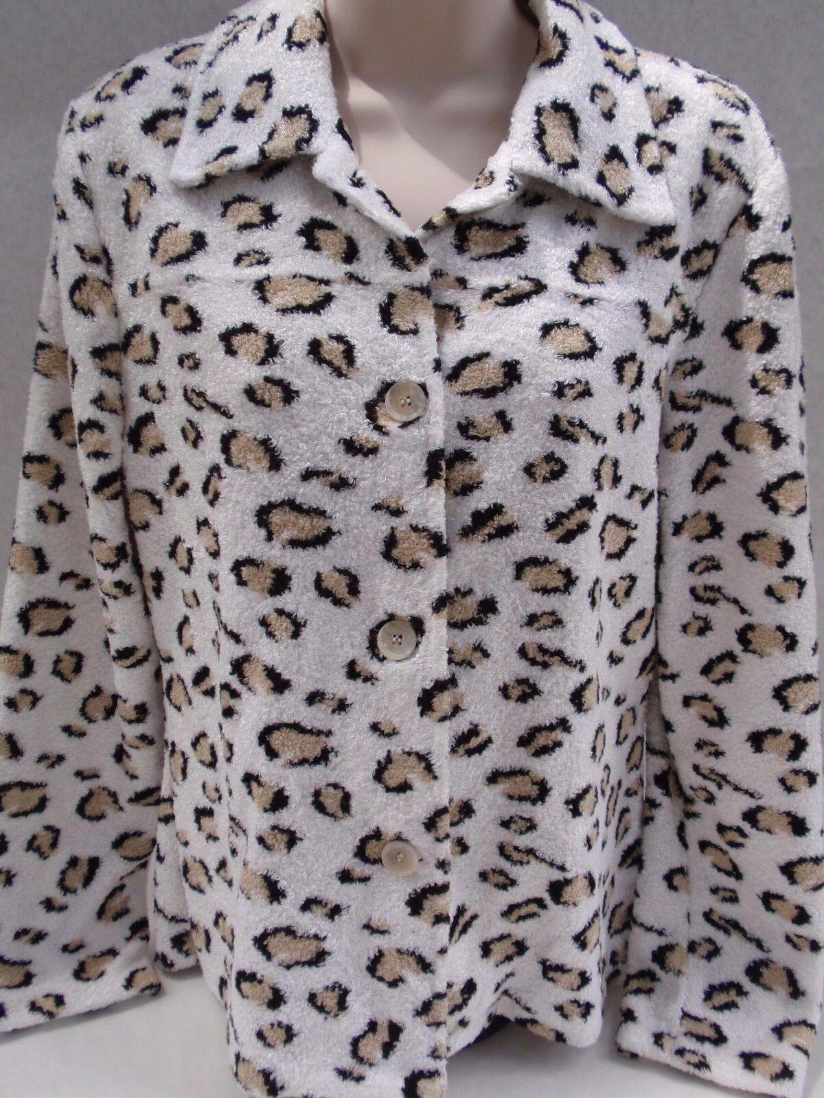 Suministro de señoras & amp;Chaqueta con botones Boucle Boece con estampado de leopardo a cuadros Viscose M