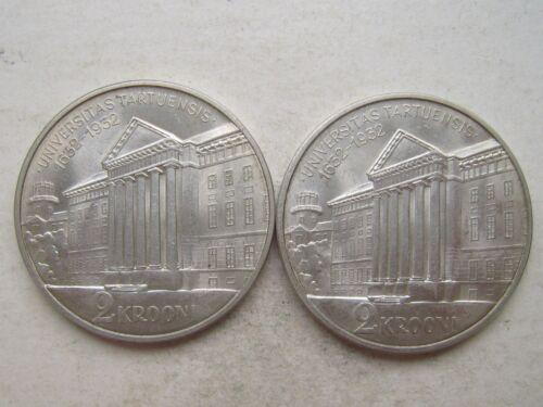 Estonia Silver 2 Krooni 1932 Tartu Universitas UNC Condition !! Mint Luster
