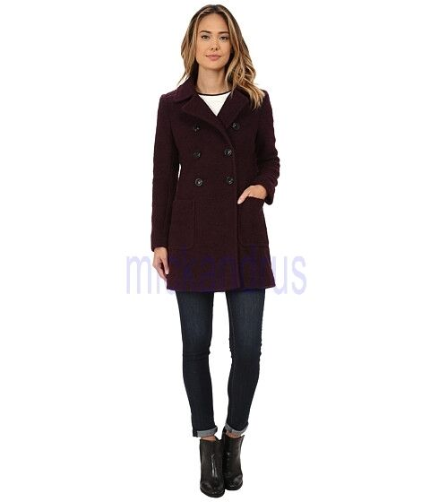 f86d26bc8b3 Details about DKNY  325 NWT Double Breasted Bouclé Coat Peacoat Purple  SHIRAZ Size 6