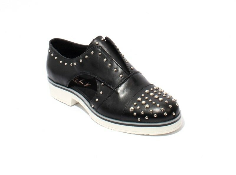 Mally 6073 Black White Leather / Elastic Studded Oxford Shoes 41 / US 11