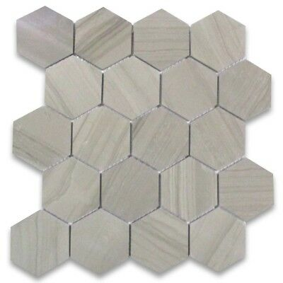 Y33xp Athens Grey Wood Grain Marble 3 Inch Hexagon Mosaic Tile