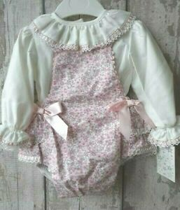 37eb565fbbbe Spanish Style Baby Girl Pink Floral Dungaree Romper and Ruffle ...