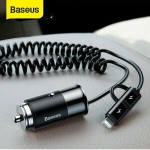 Baseus-4-8A-USB-Car-Charger-Type-C-Lightning-Charging-Cable-for-iPhone-Samsung