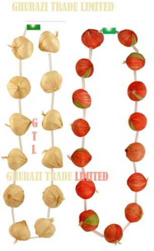 3X GARLIC GARLAND STRING NECKLACE FRENCH FANCY DRESS FRENCH COSTUME ACCESSORY