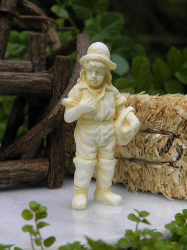 Miniature Dollhouse FAIRY GARDEN Accessories ~ Ivory Country Farm Boy Statue NEW