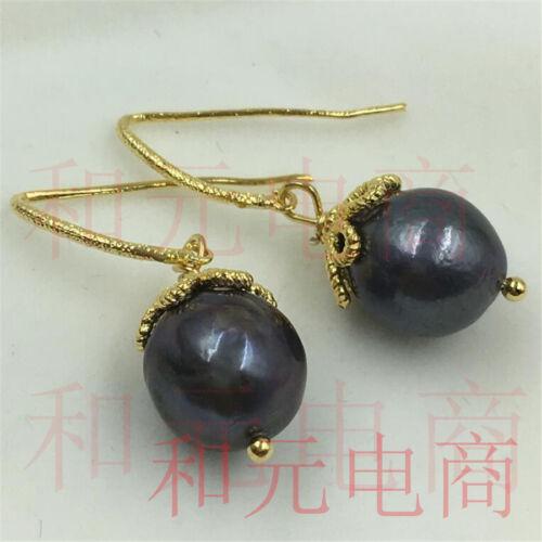Parti vert rouille 11-13 mm énorme perle Boucles d/'oreilles 18K Placage Or Baroque naturel