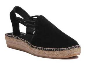 Uk Nuria pelle scamosciata 8 in Black Tony Espardrilles 3 Taglia Womens Pons 5zHqXwX1