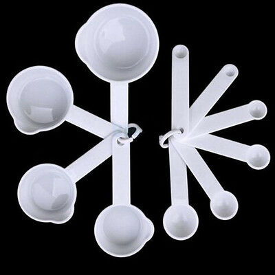 11 pcs White Plastic Kitchen Measuring Measure Spoons Cups Tablespoon Sets New