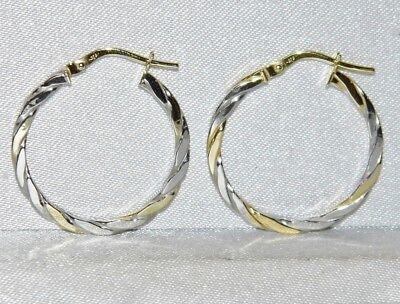 9CT YELLOW /& WHITE GOLD 25mm LADIES TWIST CREOLE HOOP EARRINGS