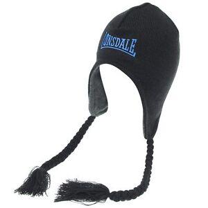 Lonsdale-Black-Finland-Beanie-Hat-BNWT-Adults-Brand-New-Inca-Ski-Hat-Boarding