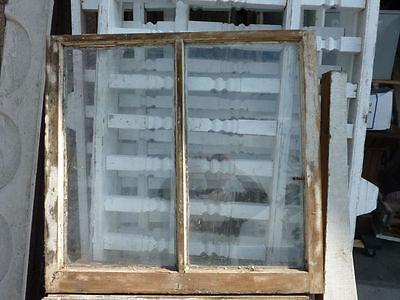 "c1870 victorian DOUBLE pane WINDOW frame SASH old paint 32.5"" x 31"" x 1 3/8"""