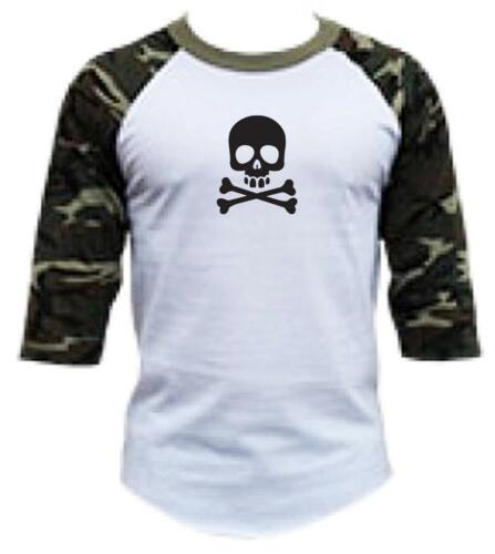 "Men Women Printed /""SKULL/"" Camo camouflage 3//4 Sleeve Raglan BaseBall T-Shirts"