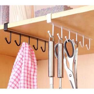 Details About 6 Hooks Cup Holder Kitchen Cabinet Shelf Storage Rack Rag Shovel Hanging Hook H
