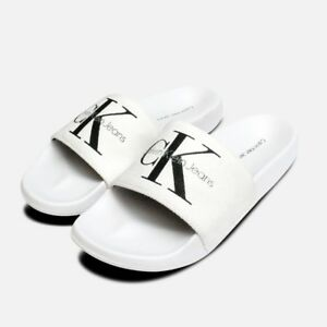 1f6736fa5 Image is loading White-Ladies-Calvin-Klein-Chantal-Canvas-Sandals