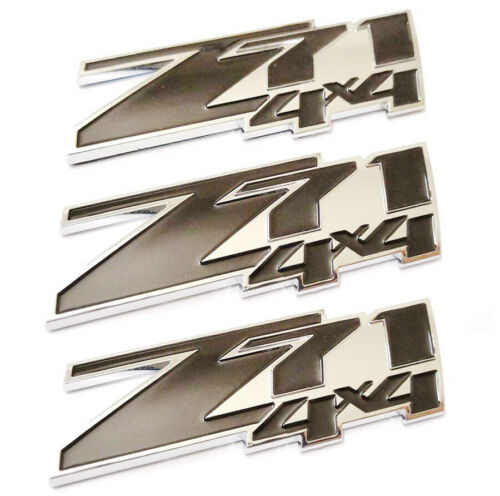 3x Z71 4x4 Emblems Badge Decal 3D OEM Stickers for Chevy Silverado GMC Black