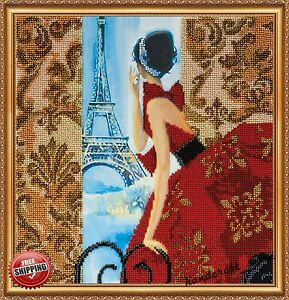 "Bead Embroidery Kit ""Window to Paris"" New Diy Needlepoint Beading Beadwork Decor"