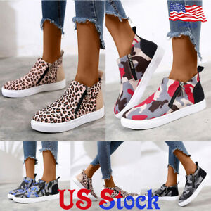 Women-Camo-Canvas-Loafer-Round-Toe-Casual-Flat-Side-Zipper-Single-Shoes-Sneakers
